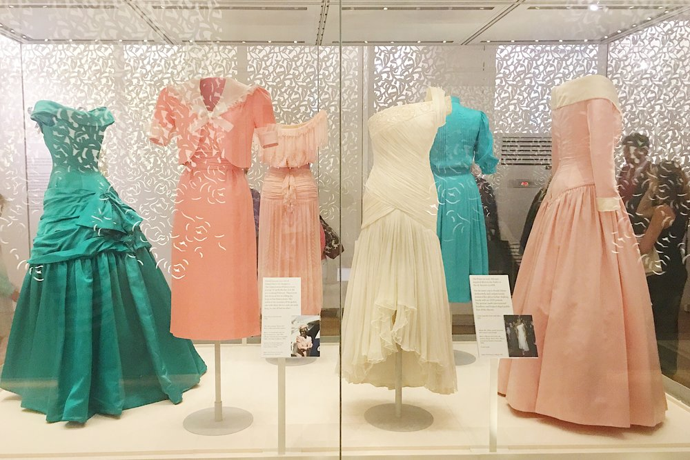 Diana's dresses on display at Kensington Palace.  Photo by Jodee Molina.