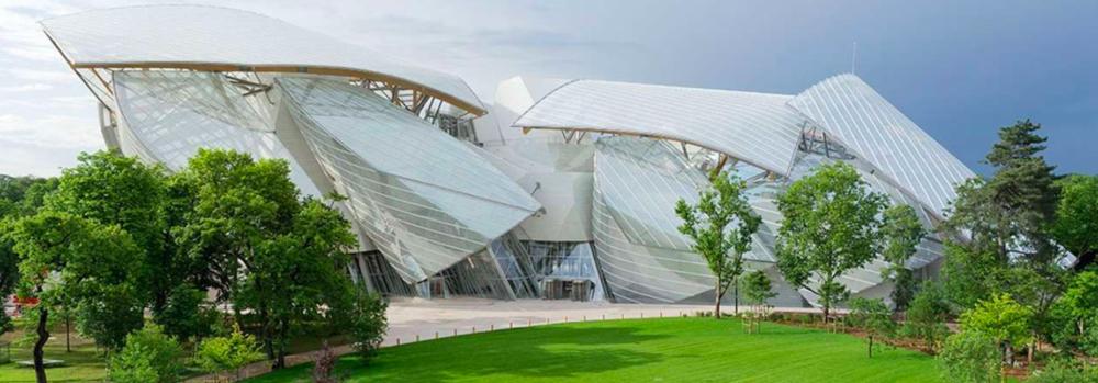 Fondation Louis Vuitton, Paris, a very modern, new structure in Paris. Photo from the Fondation Louis Vuitton website.