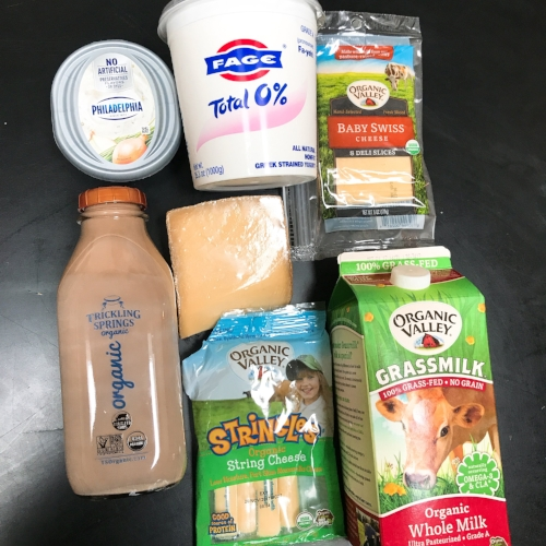 Ah dairy, I don't think I could live without it. I go back and forth from buying whole milk to 1-2% and I usually almost always buy 2% yogurt. Sometimes I buy almond milk, it depends on what I am making or in the mood for.