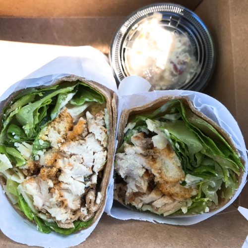 Lunch was eaten out. Grilled chicken caesar wrap with croutons on a whole wheat wrap. It was delicious and from  Crisp  in Newton Plaza.