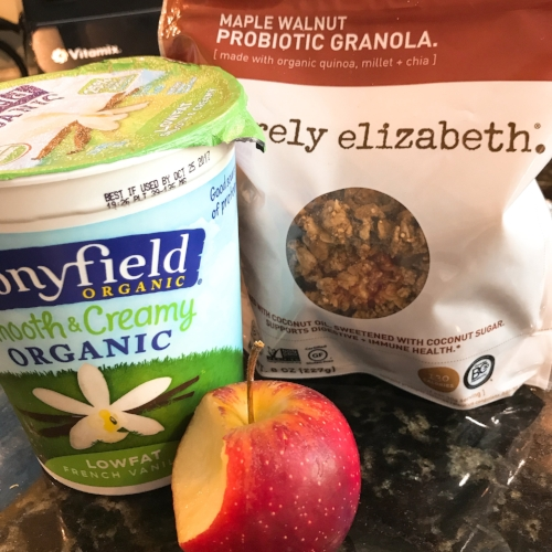 Afternoon snack! Wanted something on the sweater side today. I usually have plain greek yogurt and dress it up but I also love Stonyfield's french vanilla and so does Robert. Today I added Purely Elizabeth granola, my favorite. If you haven't tried it, you need to. There are a bunch of flavors and combinations. It's not too sweet and love the big chunks. Here I have maple walnut, highly recommend.