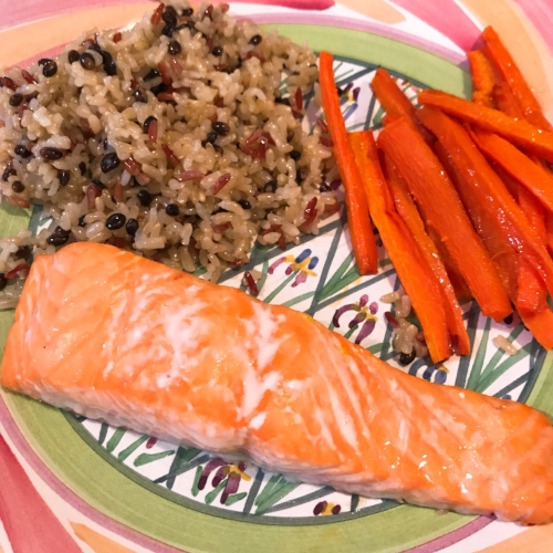 My dinner here and Robert's below. Simple salmon with roasted carrots and wild rice, simple and delicious.