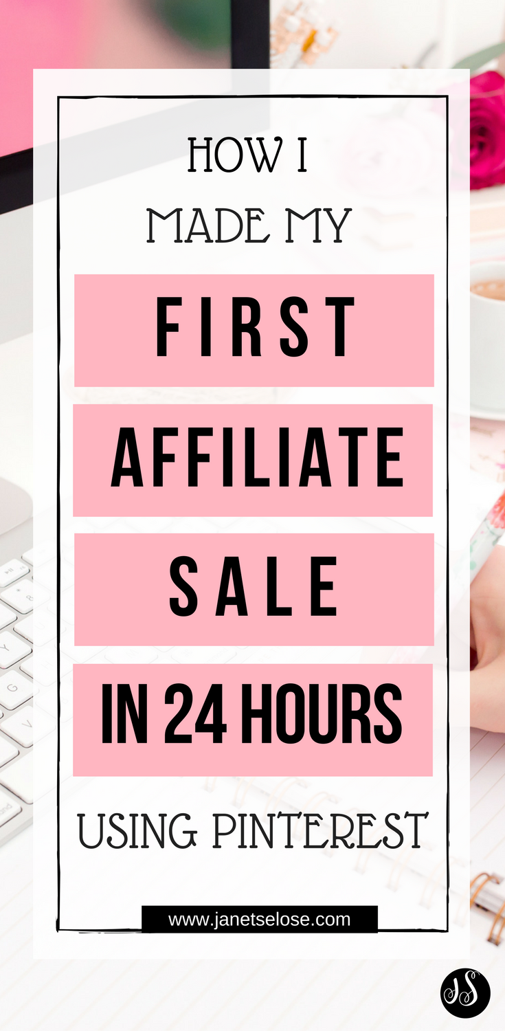 Follow this affiliate marketing tip on how I did affiliate marketing on Pinterest and made my first affiliate sale in 24 hours! This is a good strategy for affiliate marketing for beginners. Click the pin to learn more.