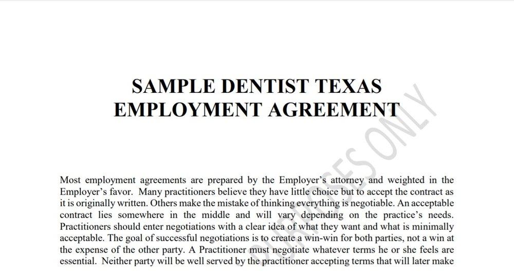 Sample Dentist Texas Employment Agreement -