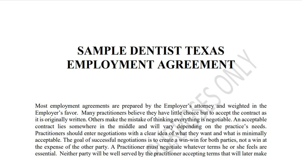 Sample Dentist Texas Employment Agreement Concerned Dentists Of Texas