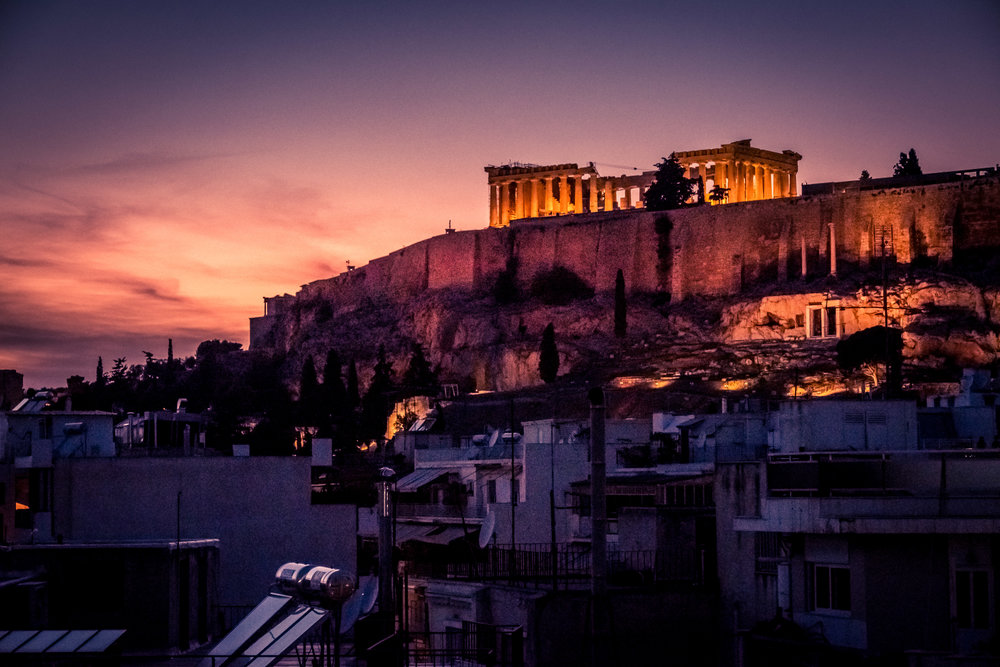Our first night in Athens, with a view of the Parthenon from our Airbnb.