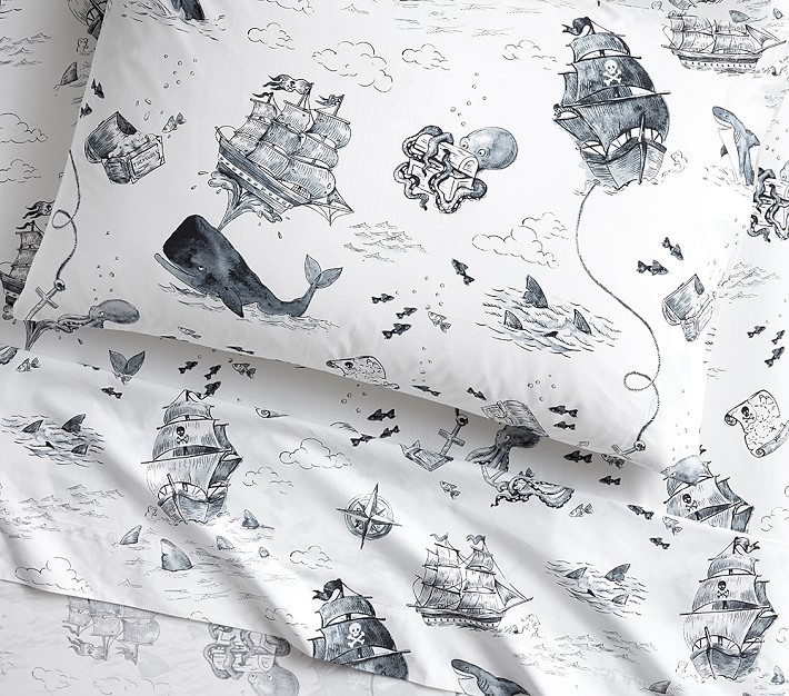 Nautical Toile Sheeting for Pottery Barn Kids