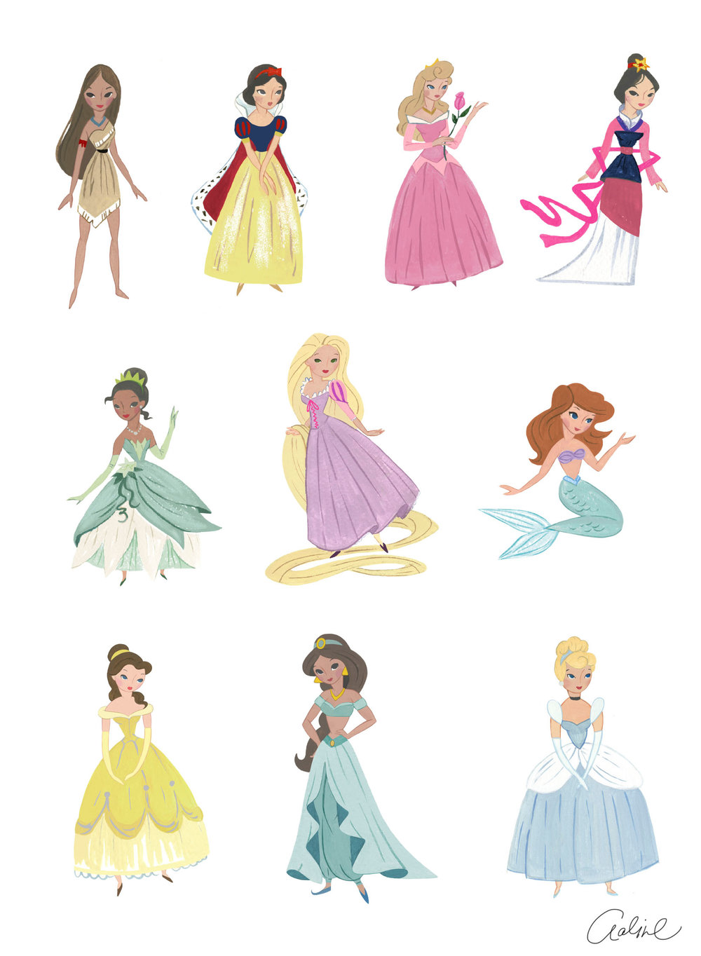 Vintage Princesses for PBK (gouache illustrations)