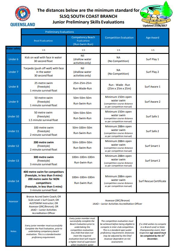 Preliminary Skills Evaluation Requirements (click to enlarge)