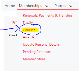 "2. Click on the ""  Memberships""   dropdown  3. Click ""  Courses"""