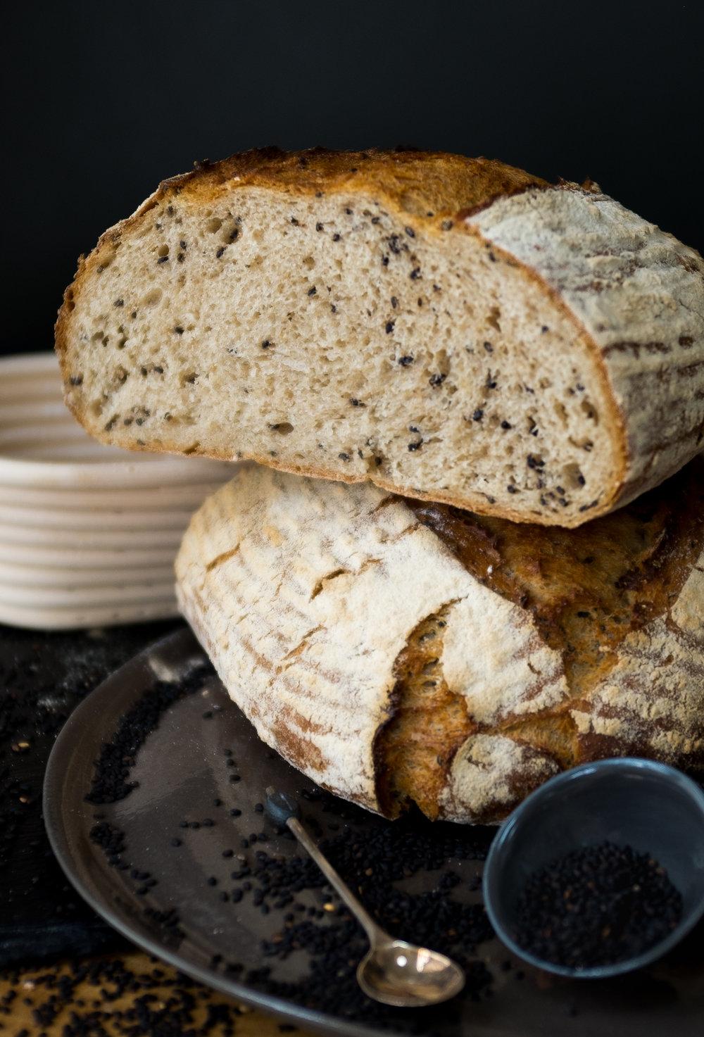 Black Sesame Khorasan Loaf sliced