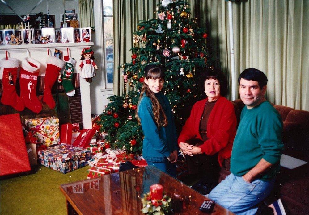 me my grandma and my dad on christmas day 1994 - Modern Family Christmas