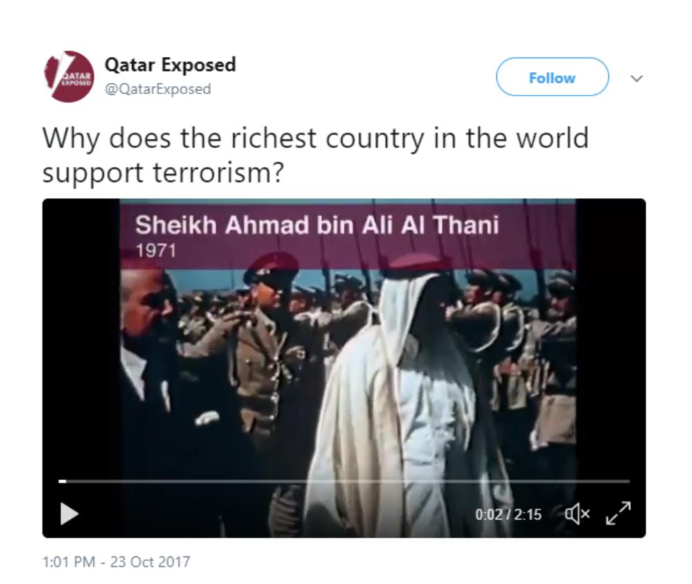 Anti-Qatar Lobby Ad on Twitter