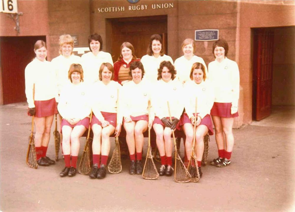 Celia and the England lacrosse team at Murrayfield in 1974