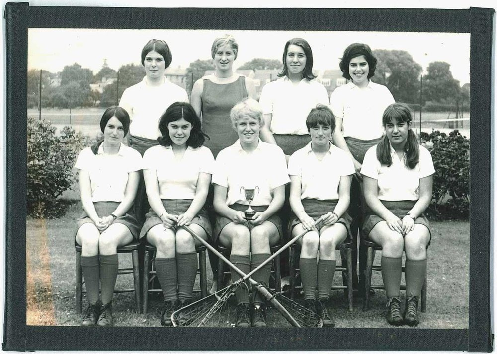 Celia and the Lady Eleanor Holles lacrosse team in 1968
