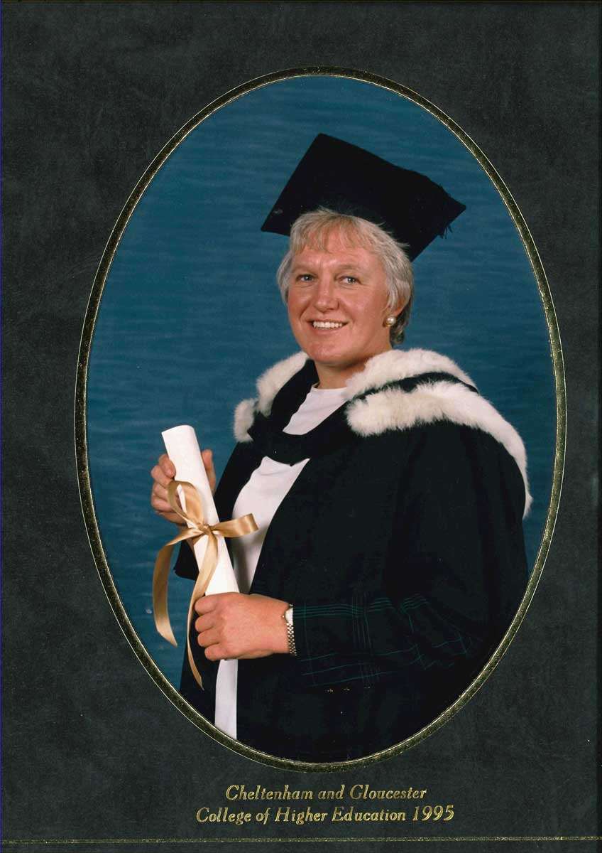 Celia receiving her professorship from Cheltenham and Gloucester College of Higher Education in 1995