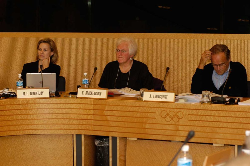 Celia at an International Olympic Committee (IOC) Consensus in Lausanne in 2014 on sexual harassment and abuse in sport