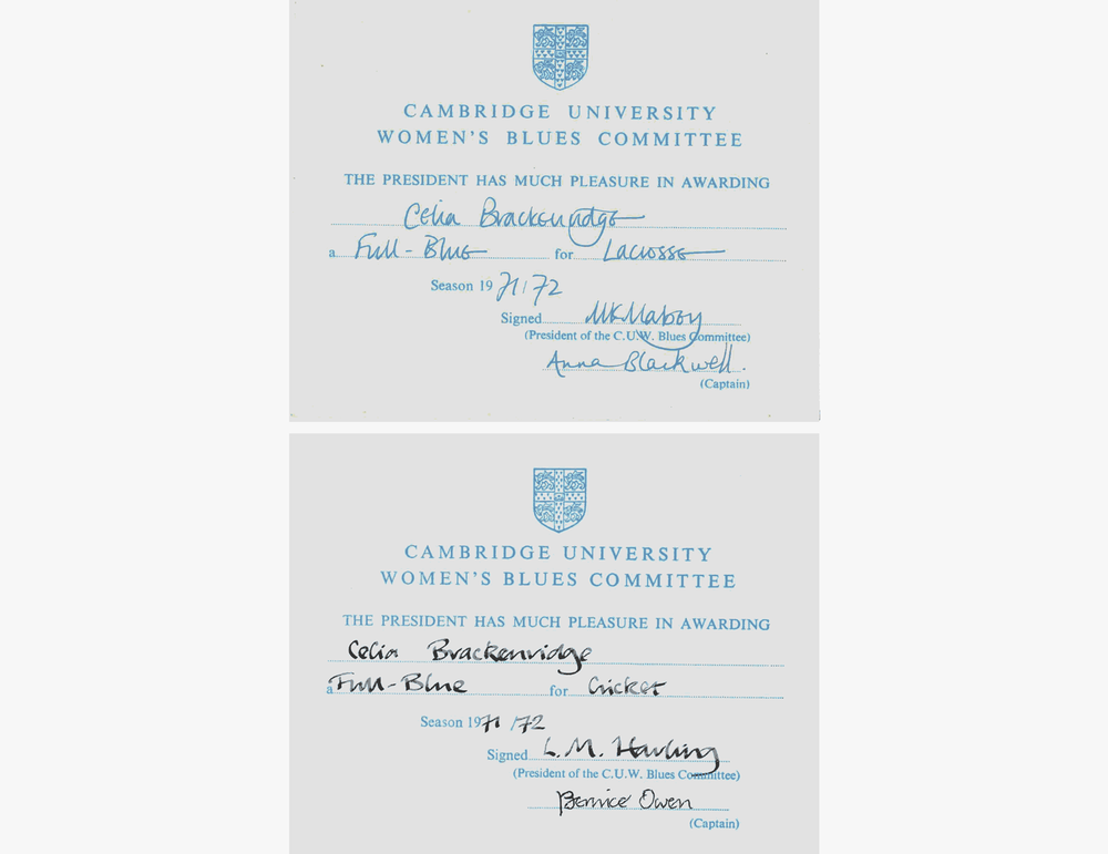 Certificates awarding Celia with Full Cambridge Blues for lacrosse and cricket in 1972