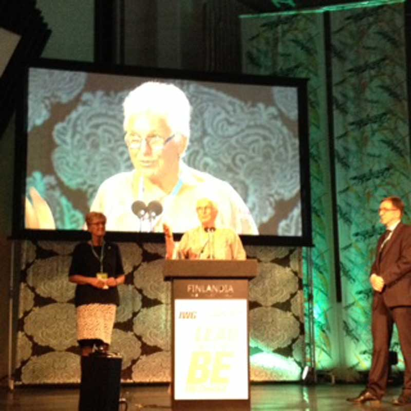 Celia delivering her acceptance speech after receiving the Noel Baker award at The 6th World Conference on Women and Sport in Helsinki in 2014