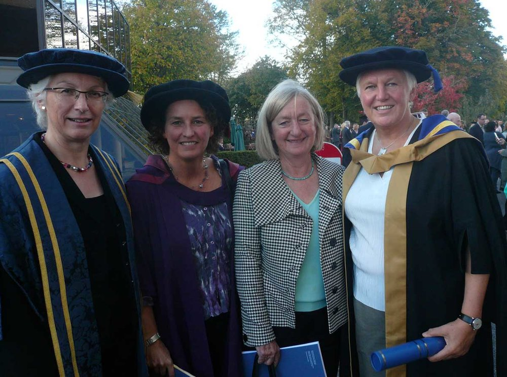 (L-R) Dr Sarah Gilroy (former Deputy Vice-Chancellor of the University of Chichester), Professor Elizabeth Pike (Chair of the Anita White Foundation), Dr Anita White OBE (Founder of the Anita White Foundation), and Professor Celia Brackenridge OBE at the 2010 University of Chichester graduation ceremony at the Festival Theatre, Chichester. Here, Celia was presented with an Honorary Fellowship of the University for an outstanding contribution to sport and humanity.