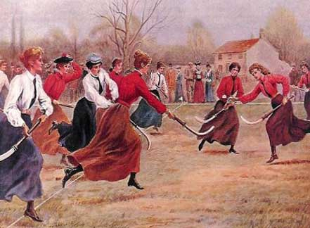 Historical image of women playing hockey