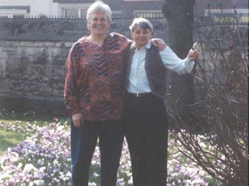 Celia (left) with Professor Sandi Kirby ->