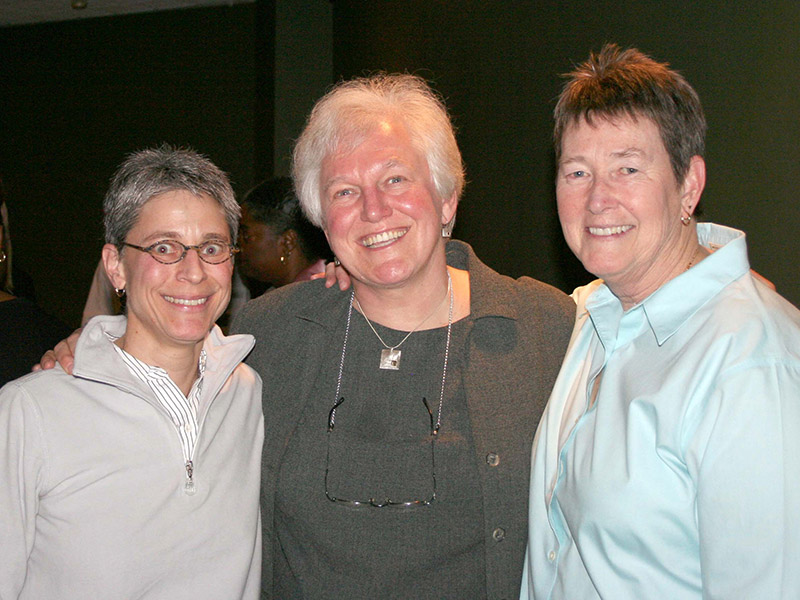 Celia with Professor Vikki Krane (left) and Professor Pat Griffin (right) in 2008
