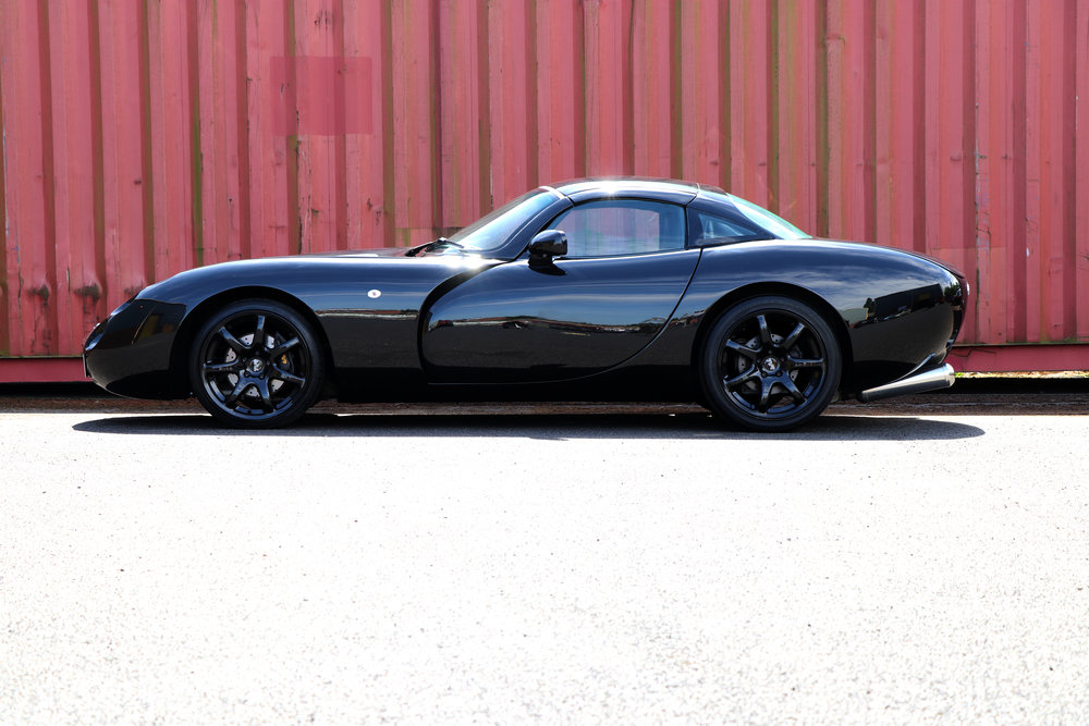 Restored 2000 TVR Tuscan, in black, right hand drive, for sale at Three Point Four.
