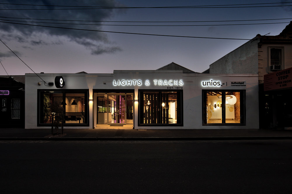 Lights and Tracks showroom exterior fitzroy