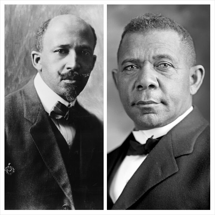 W.E.B. Dubois (left) and Booker T. Washington (right).