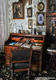 The desk of Frederick Douglass. He spent several hours every day reading books and writing letters.