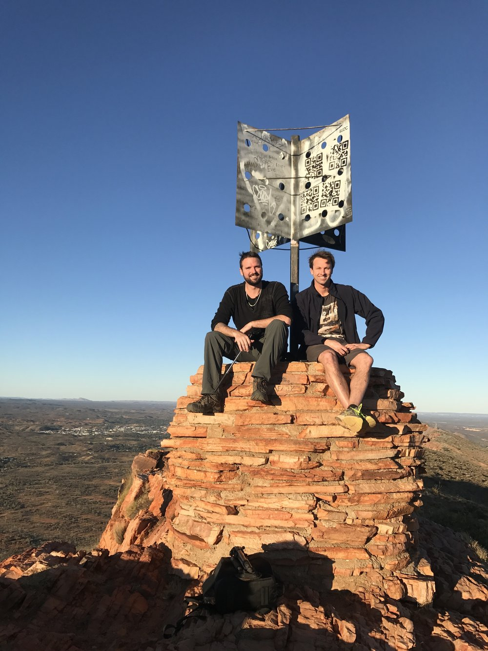 Top of Mount Gillen with Alice Springs in the backgrounud.