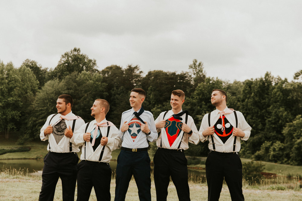 Groomsmen superhero undershirts