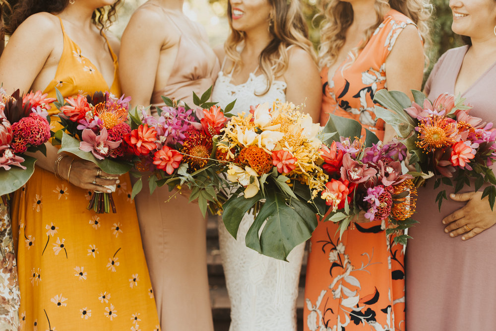 colorful bridal bouquets