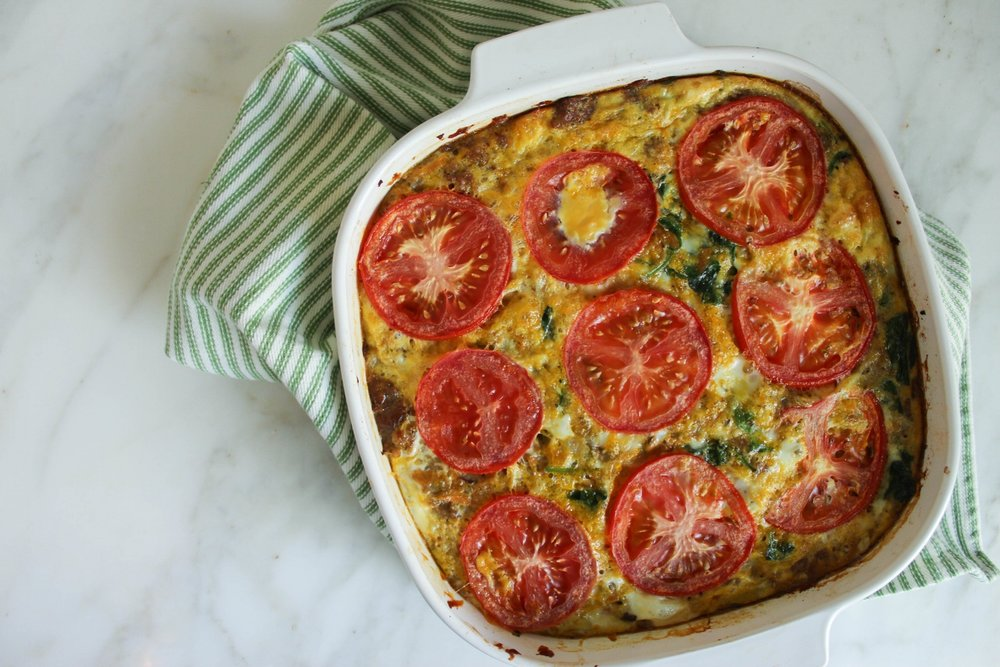 Sweet Potato Sausage Quiche - Ingredients:1/2 of a large sweet potato or 1 small sweet potato, shredded1 lb breakfast sausage12 eggs2C spinach1C mushrooms, roughly chopped2 small tomatoes1 small onion, diced3 cloves garlic, minced1 tsp. salt1 tsp. pepper1/4 tsp. rosemary1/4 tsp. thyme1/4 tsp. sageDirections:1. Preheat oven to 350 degrees2.Shred the sweet potato with a cheese grater on the largest side3.Chop onion, mushrooms, garlic and set aside.4.Brown sausage in a pan on medium-high heat.5.Once finished place sausage in a lightly greased baking dish.6.Add the veggies and sweet potato to pan, on medium-high heat7.Season with all the seasonings.8.Once softened, add to the pan that has the sausage in it.9.Beat the eggs and add to the top of the other ingredients. Thinly slice tomato and place on top.10.Bake in the oven for 25min, or until eggs are no longer runny on top.