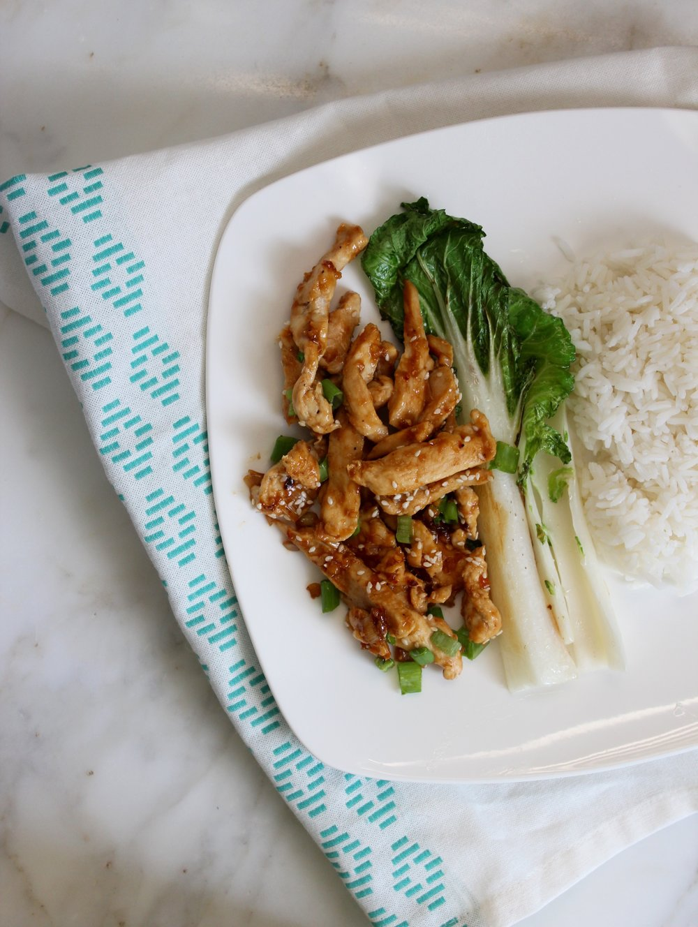 I pair this chicken with some white rice and sautéed bok choy! If you are doing a whole30 just look at my chicken fried rice recipe minus the chicken :)