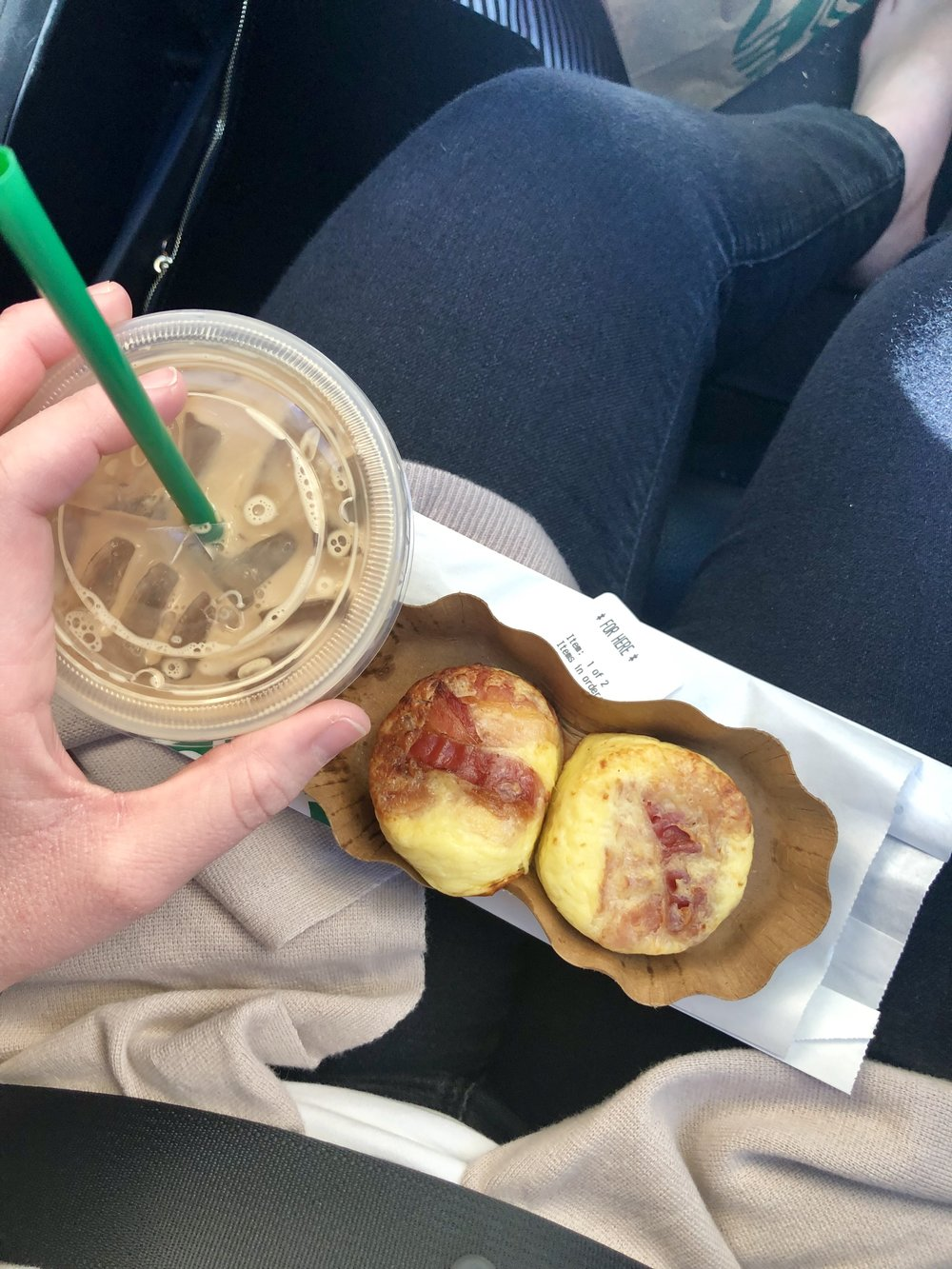 I got bacon egg bites with a iced latte with 1/2 and 1/2