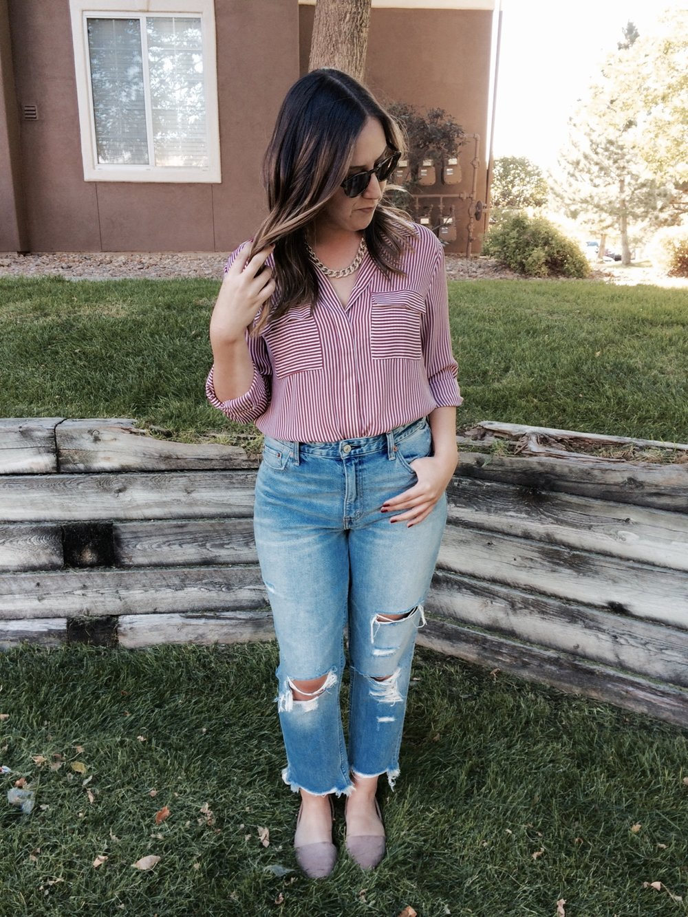 For my second look, I paired classic pieces like my utility blouse and d'Orsay flats with the boyfriend jeans to make an otherwise simple outfit, appear edgier.