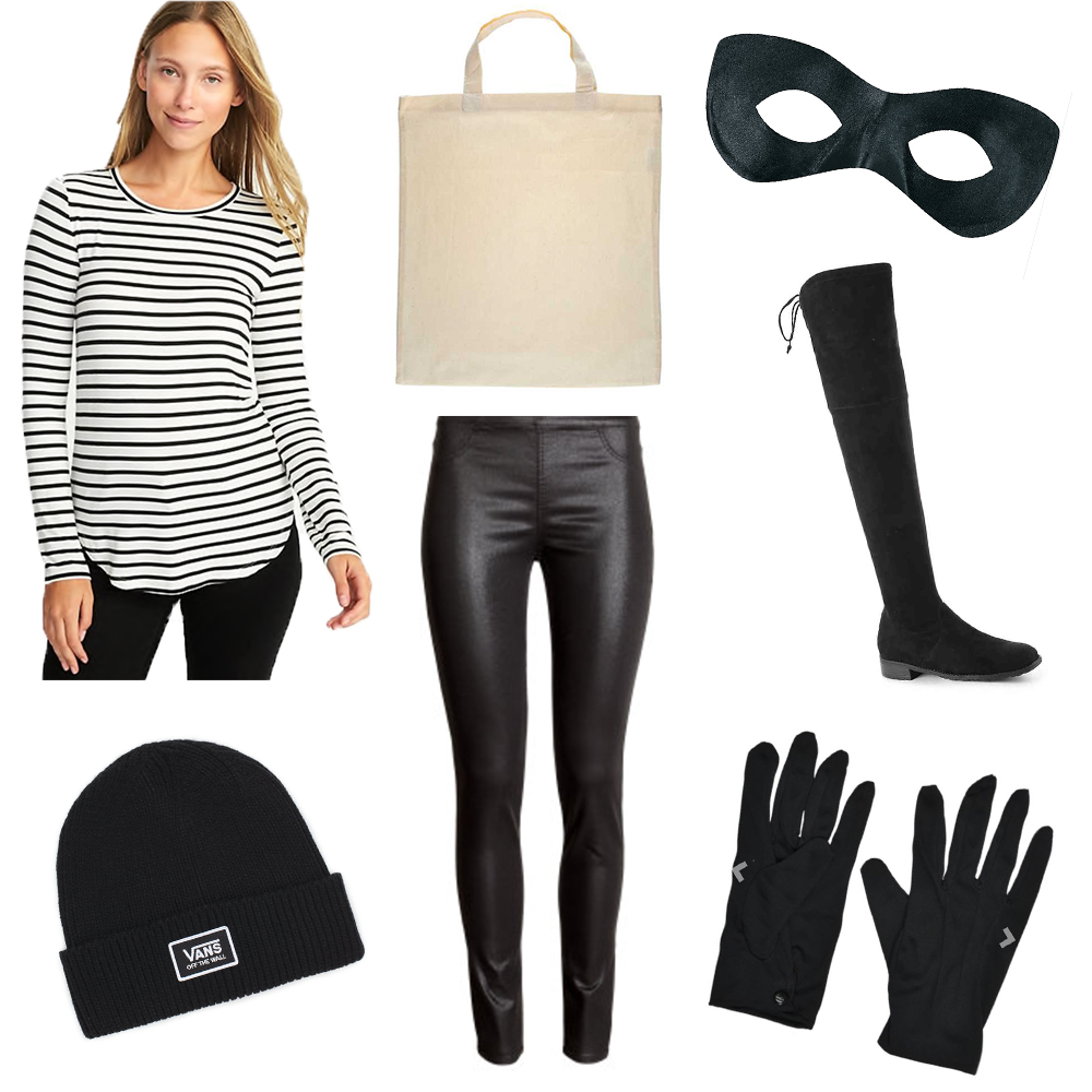 "For this criminal costume all you need is a black and white stripe shirt, leather leggings or black pants, black boots and a beanie! All you need to purchase are a bandit mask, black gloves, and a canvas bag (that doubles as your purse)! I drew my own money sign on my canvas bag because it was about $13 cheaper than buying one with the money sign already on it! Just put a magazine in the bag and lay it flat on a table, draw a ""$"" sign on the front of the bag with sharpie and voila!  I love this costume because it is comfortable and fun, and also works great for a couple costume! The accessories for this costume are under $11!"