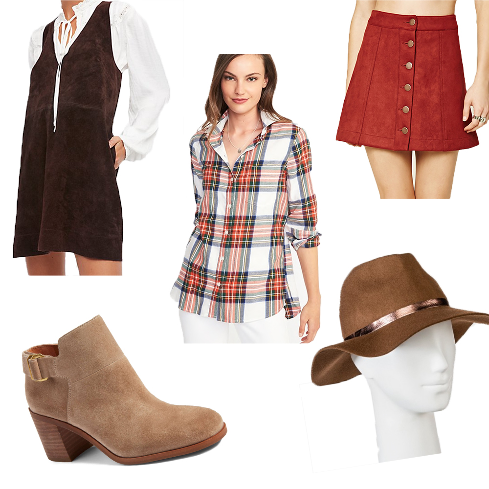 For this scarecrow costume you might already have most of these items in your closet. All you really need is a plaid shirt and a floppy hat. From there you can get as crazy as you want. It would be super cute with a button-up suede skirt or a suede mini dress, but it would also work with jeans or a denim mini skirt! Just pair it with neutral booties and you're good to go! To top off the costume do some scarecrow makeup. I linked a super easy video if makeup isn't your thing! If you don't already own these items, the price point can vary, but I linked some affordable options that can flow into your everyday wardrobe after Halloween is over!