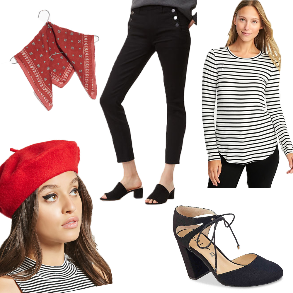 For this Parisian costume you need a black and white shirt, black pants, a neck scarf (which I'm sure you already own from the summer), a beret (which is a new trend that can be applied to every day style this fall/winter), and a cute pair of heels or ballet flats! Assuming you have all the basic pieces- all you have to purchase is the beret and I found  this super cute one for only $13! Oui Oui!