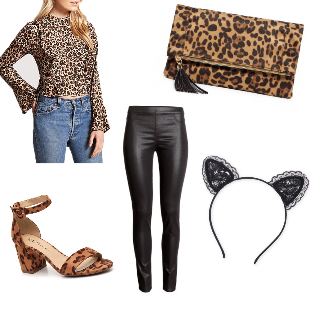 In my opinion, a cat costume is the easiest costume you can do! Just buy all the leopard things! Pair them with leather leggings and cute ears and you're done! I don't think the leopard needs to match, in fact I think it's way more fun to be mismatched. Leopard is also making a major comeback this year, especially with accessories, so if you have to buy a couple items to complete your costume you'll definitely wear them again! I love that this top has bell sleeves and ruffles on the front, making it perfectly on trend! All you have to buy to complete the costume are these ears for $6.