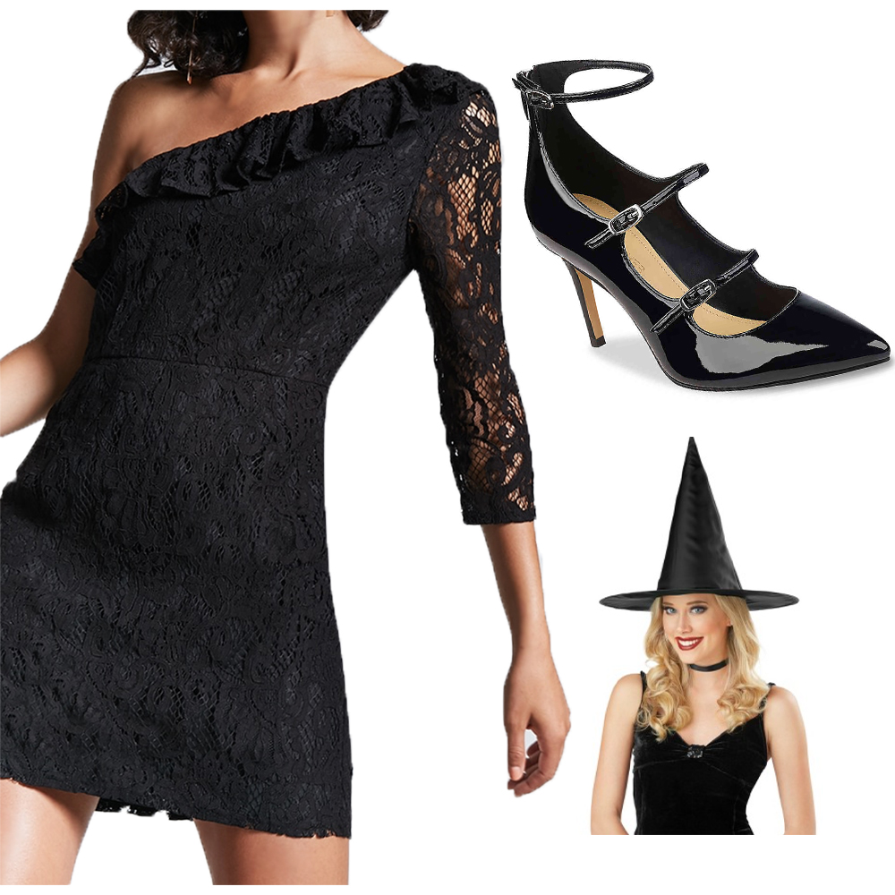 When did being a witch for Halloween stop being a thing? It's such an easy costume and perfect for the spirit of the holiday. This is a very simple costume, just get a black lace dress, some black pumps or booties and a witch hat and you're good to go! Whatever black cocktail dress you choose can also be worn for New Years Eve. If you're worried about getting cold, you could also purchase a velvet cape to take your costume up a notch. I linked a few cute and affordable lace dresses from Forever 21 and this hat is only $3!