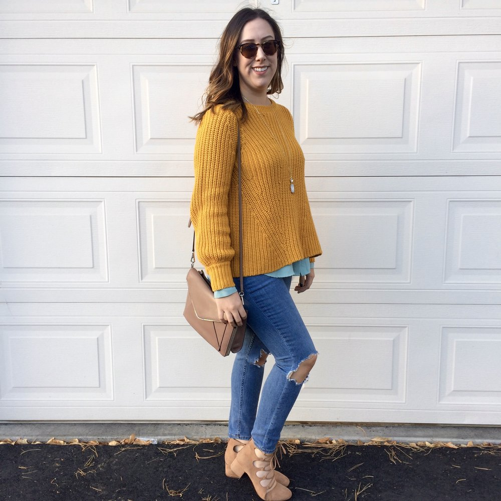 "For my third look I was inspired by London's color palette. I decided to pair my mustard (or ""Lemon Curry"") sweater with a ""Blue Bell"" woven layered underneath. I was skeptical at first, but I love it! It created so much visual interest and was a unique way to style this sweater that you probably haven't thought of. This sweater would also look great with a light blue scarf tied around your neck!"