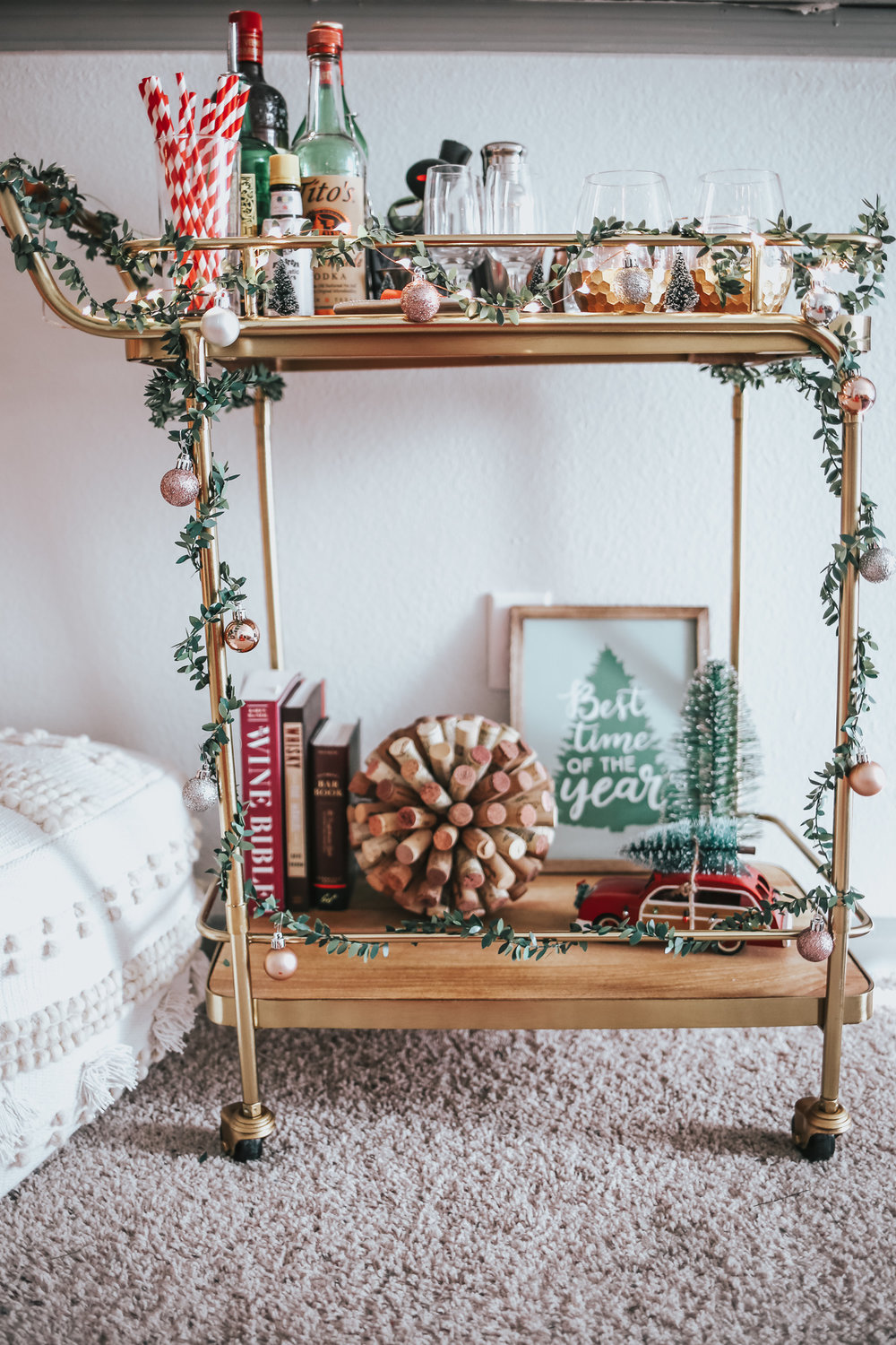 DECORATE THE CART WITH CHRISTMAS DECOR, A LETTER BOARD SIGN WITH YOUR FAVORITE CHRISTMAS MOVIE QUOTES, BOTTLE BRUSH TREES AND MORE!