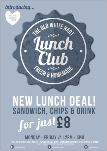 THE LUNCH CLUB! - Whether you're looking for a quick bite to eat, a business meeting, or a lunch date with friends, come down and grab a freshly prepared sandwich, with hot crispy chips and a drink or your choice at out lunch club!Every Monday - Friday / 12pm - 5pm