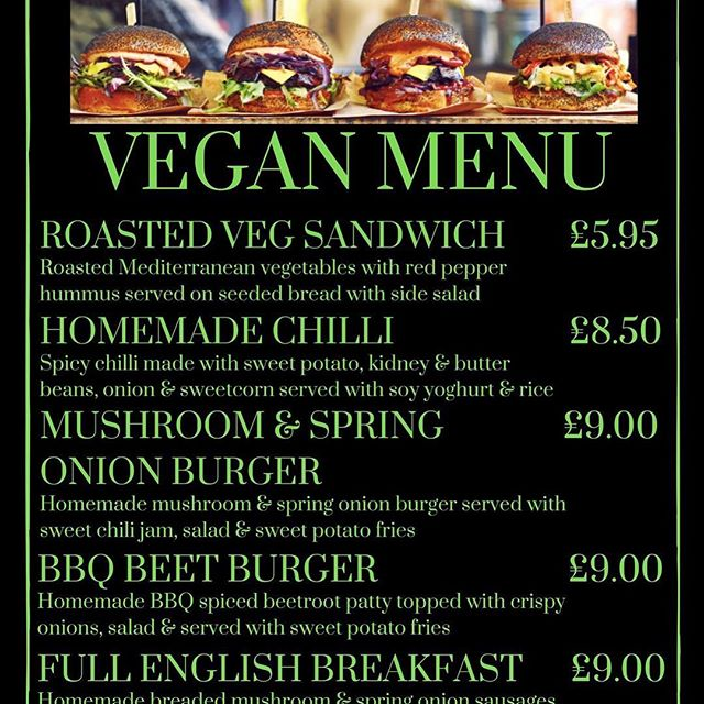 @charlesbradlaugh new vegan menu up and running , half price vegan burgers this week and the entire menu half price mon-Thursday from next week ! #vegan #bradburger #veganburger #veganfood #northampton #burger #veganbreakfast #homemade