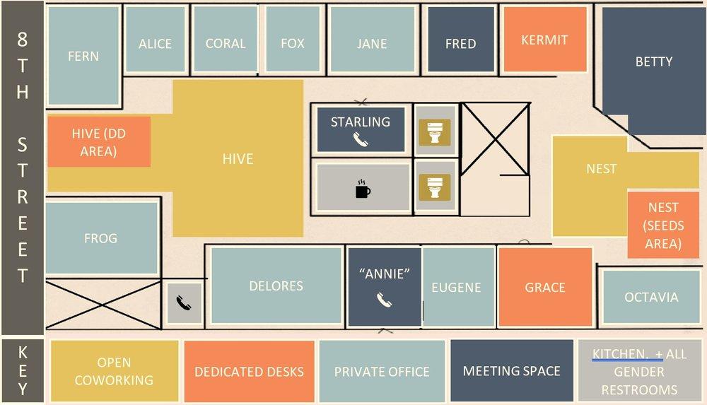 Meeting spaces shown in dark blue.