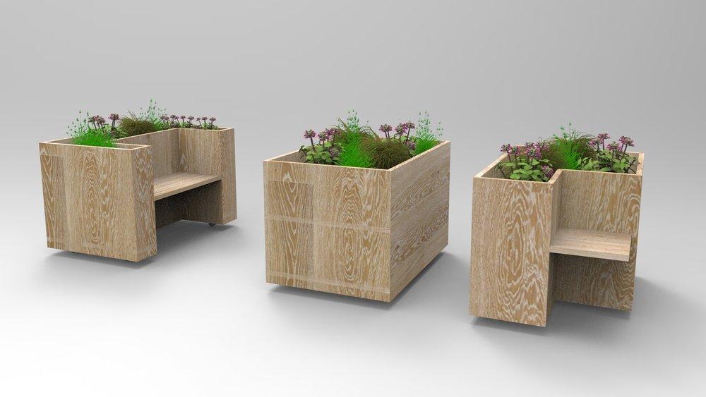 Fleurs et plantes aromatiques sur roulettes