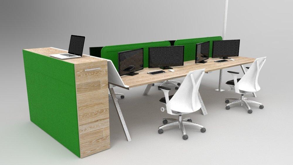 Création d'un module de bureau open space permettant de travailler debout